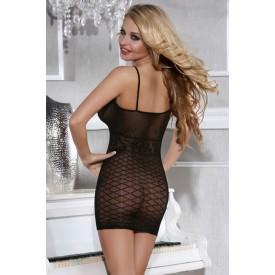 Обольстительное коротенькое платье-сетка с узором в виде ромбов